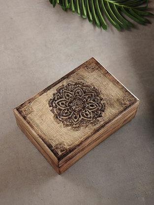 Center Mandala Mango Wood Multipurpose Box (L:6.6in, W:9.6in, H:3.2in)