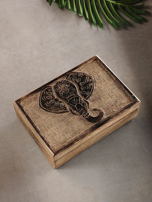 Elephant Face Mango Wood Multipurpose Box (L:6.6in, W:10in, H:3.2in)