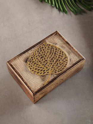 Leaf Mango Wood Multipurpose Box with Golden Foil (L:6.7in, W:10in, H:3.2in)