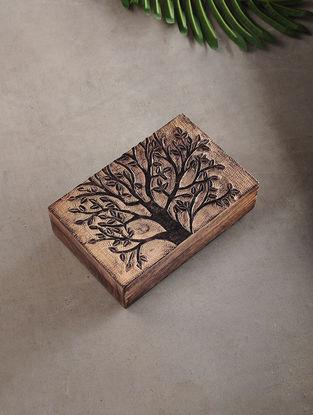 Tree of Life Mango Wood Multipurpose Box (L:5.3in, W:8.3in, H:2.2in)