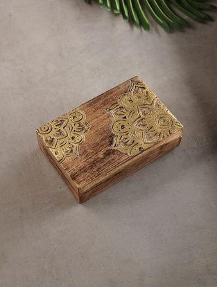 Mandala Mango Wood Multipurpose Box with Golden Foil (L:5.3in, W:8.5in, H:2.2in)