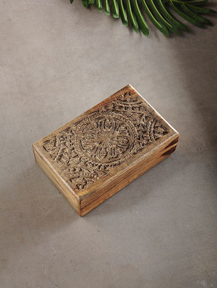 Intricately Carved Mango Wood Multipurpose Box (L:5.3in, W:8.3in, H:2.2in)