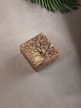 Tree of Life Mango Wood Multipurpose Box (L:5.3in, W:5.3in, H:2in)