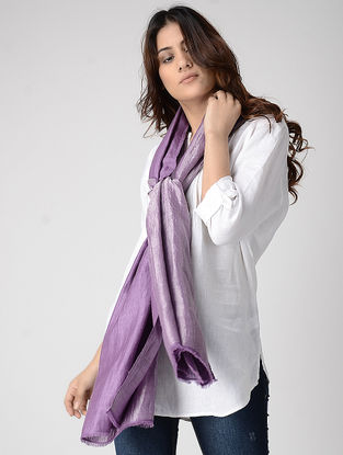 Purple Reversible Pashmina Stole with Zari