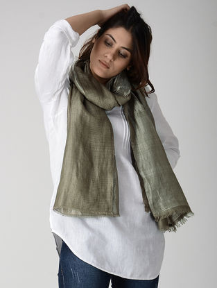 Grey Reversible Pashmina Stole with Zari