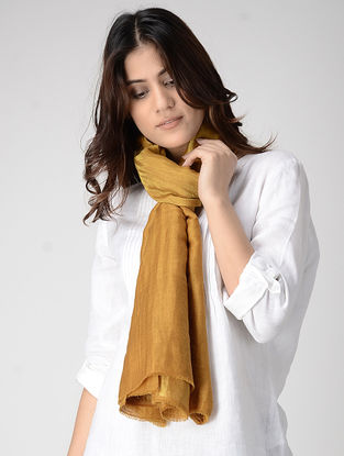 Ochre Reversible Pashmina Stole with Zari