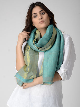 Blue Reversible Pashmina Stole with Zari