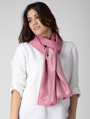Pink Reversible Pashmina Stole with Zari