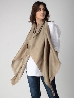 Beige Reversible Pashmina Stole with Zari