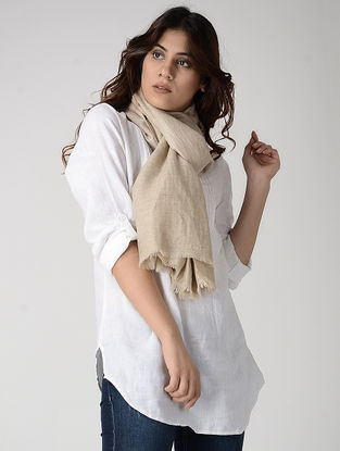 Ivory Reversible Pashmina Stole with Zari