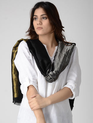 Black Reversible Pashmina Stole with Zari