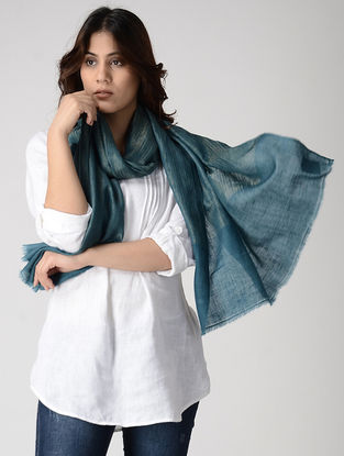Teal Pashmina Stole with Zari