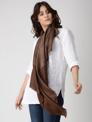 Brown Pashmina Stole with Zari