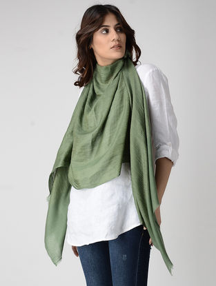 Green Pashmina Stole with Zari