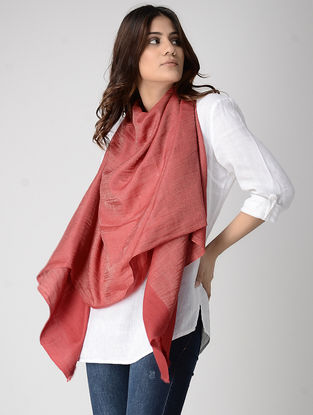 Red Pashmina Stole with Zari