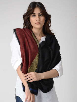 Black-Maroon Pashmina Stole with Zari