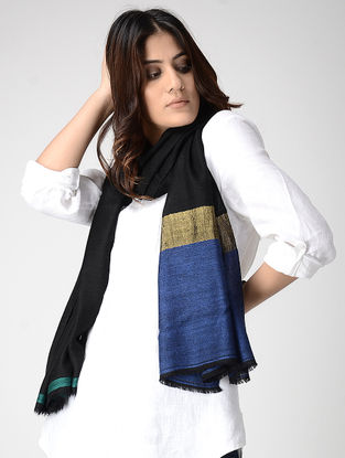 Black-Blue Pashmina Stole with Zari