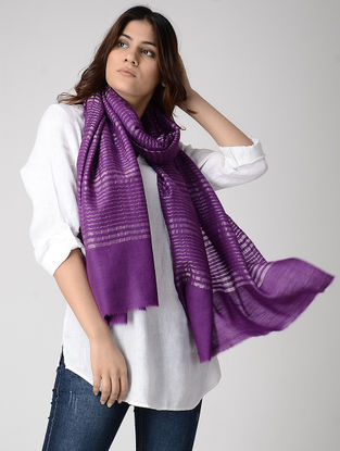 Purple Pashmina Stole with Zari