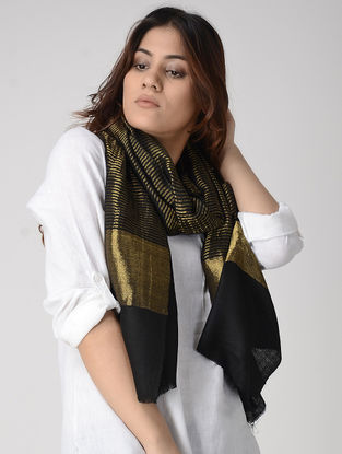 Black Pashmina Stole with Zari