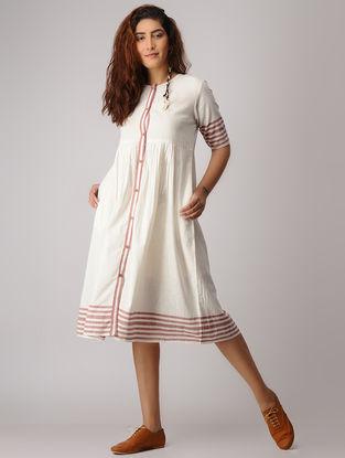 White-Red Button-down Khadi Dress