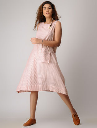 Pink-White Striped Khadi Dress
