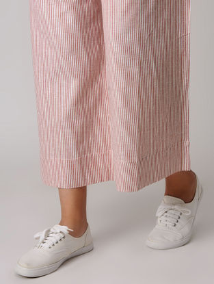 Red-White Tie-up Khadi Pants
