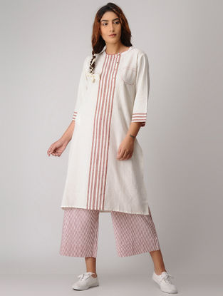 White-Red Striped Khadi Kurta