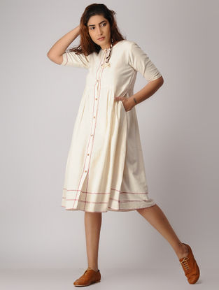 Ivory-Red Button Down Khadi Dress