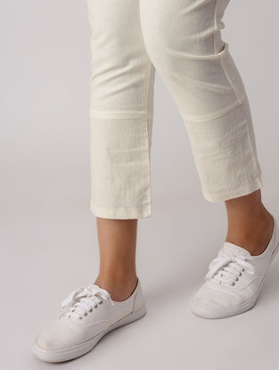 White-Red Elasticated Waist Khadi Pants with Inverted Red Hem