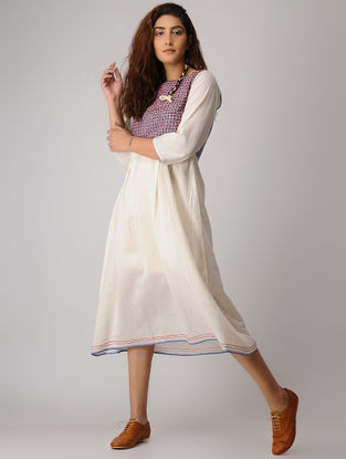 White-Blue Jamdani Cotton Dress with French Knot Embroidery