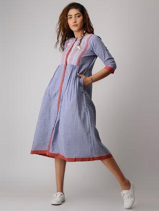 Blue-Red Button-down Khadi Dress