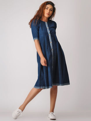 Indigo-Grey Button-down Khadi Dress