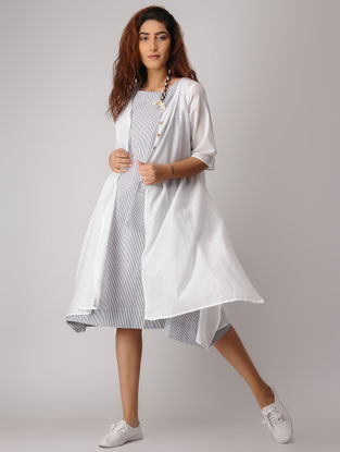 Blue-White Striped Khadi Dress