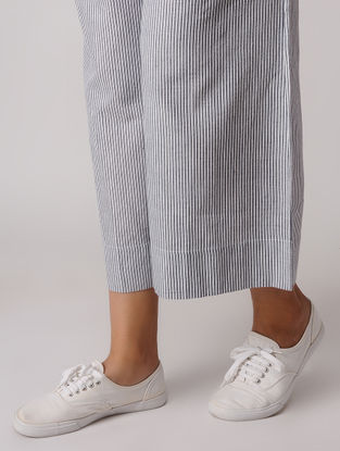 Blue-White Tie-up Khadi Pants