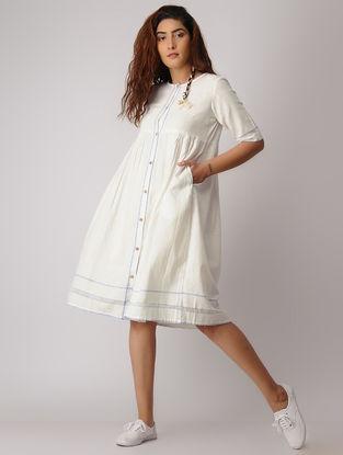 Ivory-Blue Button Down Khadi Dress