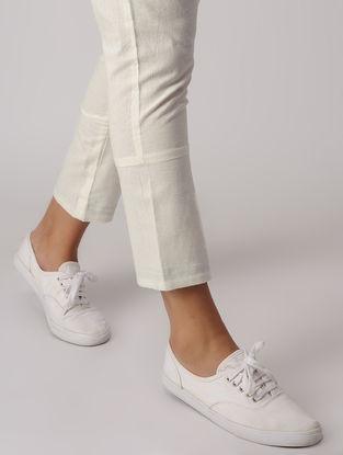 White-Black Elasticated Waist Khadi Pants with Inverted Black Hem