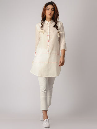 White Khadi Tunic with Kantha Work