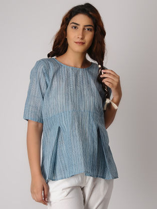 Blue Khadi Top with Inverted Box Pleats