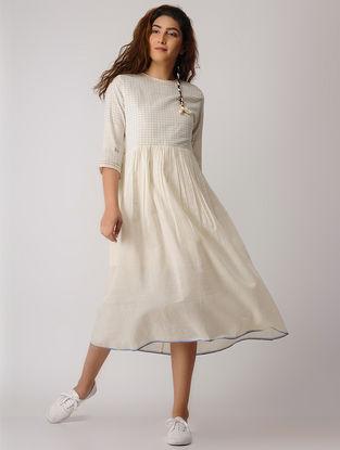 White Checkered Khadi Dress with Gathers