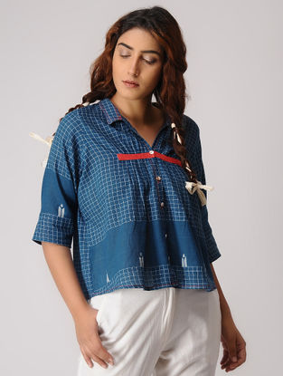Blue Checkered Jamdani Cotton Top