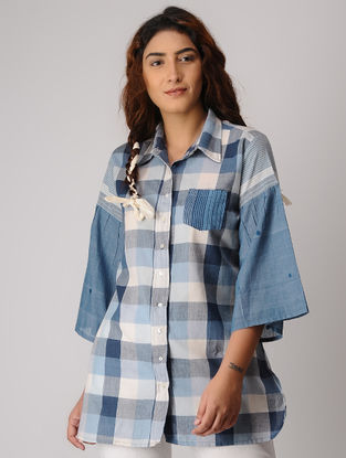 Blue-Grey Checkered Khadi Shirt
