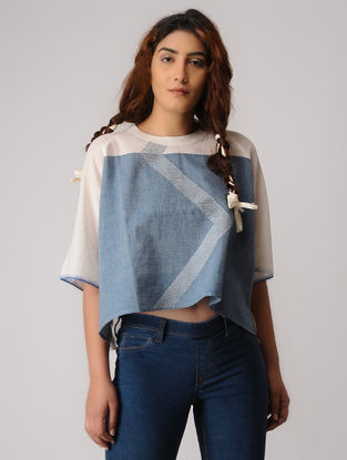 Blue-Ivory Khadi Top