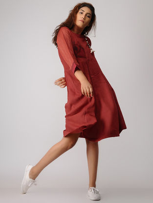 Red Jamdani Cotton Dress with Asymmetrical Hem