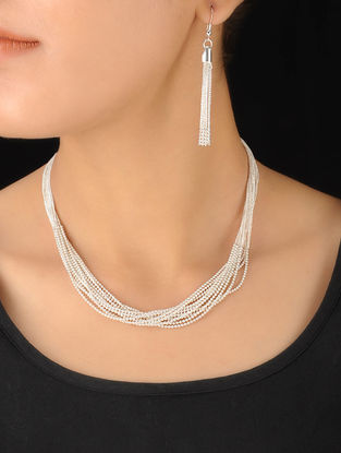 Classic Silver Necklace With Pair of Earrings