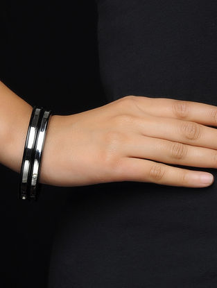 Black Silver and Wood Bangles Set of 2