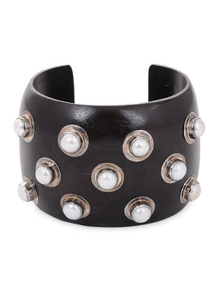 Silver and Wood Cuff with Pearls