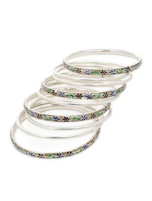 Multicolored Enameled Silver Bangles Set of 9 (Bangle Size -2/8)
