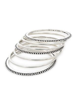 Classic Silver Bangles Set of 7 (Bangle Size -2/4)