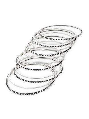 Classic Silver Bangles Set of 12 (Bangle Size -2/4)