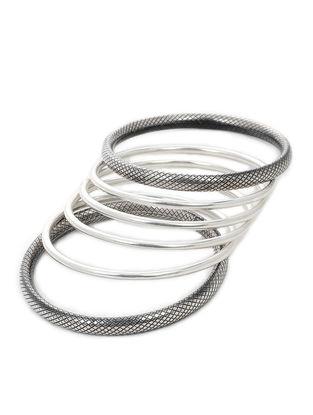 Classic Silver Bangles Set of 6 (Bangle Size -2/4)